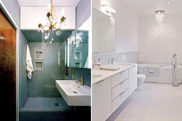 O banheiro também merece atenção  Nova Trento Empreendimentos Imobiliários  -> Lustres Banheiro Pequeno